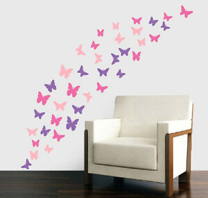 Pink-amp-Purple-Butterfly-Silhouette-Pack-of-38-Wall-Art-Stickers-Decals-Murals