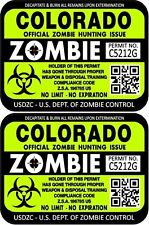 Prosticker 1216 Two 3 X 4 Colorado Zombie Hunting License Decals Stickers