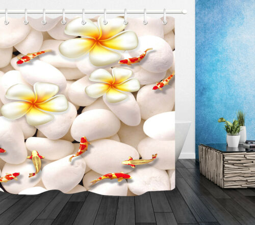 Goldfish Orchid Fabric Shower Curtain Liner Cobble Waterproof Bathroom Accessory