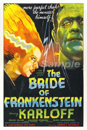 VINTAGE THE BRIDE OF FRANKENSTEIN MOVIE POSTER A4 PRINT