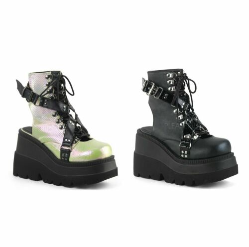 """Demonia Women/'s SHAKER-56 4.5/"""" Wedge Platform Open Back Lace-up Ankle Boots"""