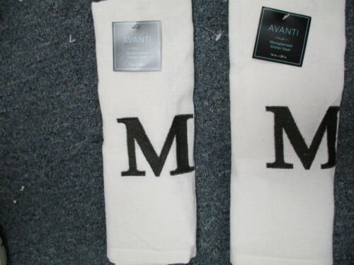 TWO EMBROIDERED MONOGRAM KITCHEN TOWEL--LETTER M BY AVANTI LINENS BRAND NEW