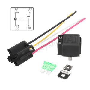 4-Broches-30A-12V-Relais-4-5-Broches-Base-Prise-Socket-Relais-Cable-Fusible-40A