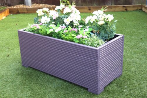 1 METRE LARGE WOODEN GARDEN PLANTER TROUGH PAINTED IN LAVENDER PURPLE DECKING