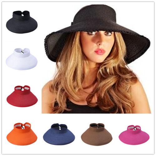 New Women Girl Travel Straw Headless Foldable Beach Wide Brim Sun Hat Visor Cap