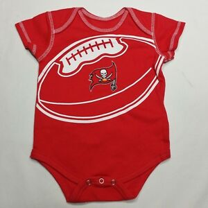 15cf5802 Details about NFL Tampa Bay Buccaneers Red White Football Infant 6/9M  Cotton One Piece Romper