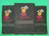 Custom - 3 Piece Miami Heat Basketball Embroidered Bath Hand Towel Set