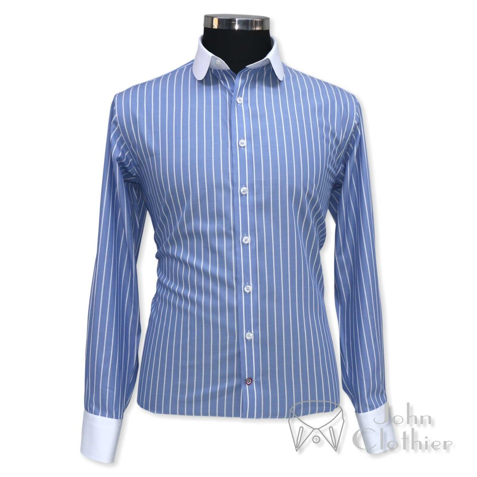 Penny collar shirts Blau Weiß stripes Club Round Bankers cotton shirt for Men