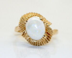 NICE-LARGE-Beautiful-Genuine-14K-Yellow-Gold-3-Carat-Oval-Opal-Ring-Size-7