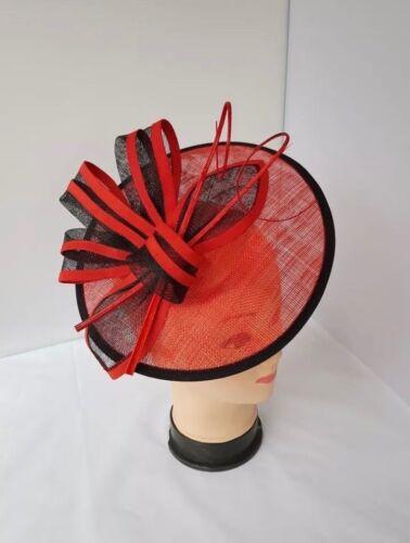 Rouge /& Noir Bandeau Pince Chapeau Bibi Mariages ladiesday Race Royal Ascot