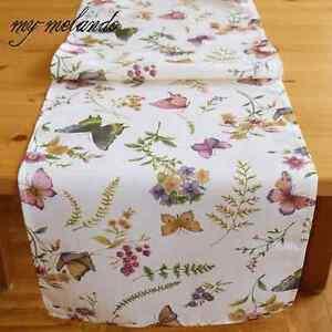 Tischlaufer Fur Gartentisch Sommer Textildruck Schmetterlinge Blumen