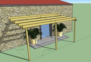 Pergola addossata 6x3 in legno impregnato in autoclave, tettoia ...