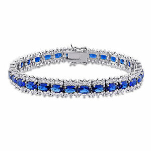 Amour Created Blue Sapphire and Created White Sapphire Sterling Silver Bracelet