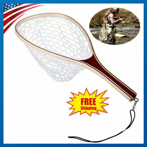 Wooden Narrow frame Fly Fishing Trout Landing Rubber Net Catch Release 39*28cm