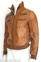 Sean Men's Tan Short Bomber Vintage Lamb Washed Waxed Look Real Leather Jacket