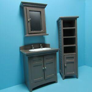 dollhouse miniature wood bathroom medicine cabinet with