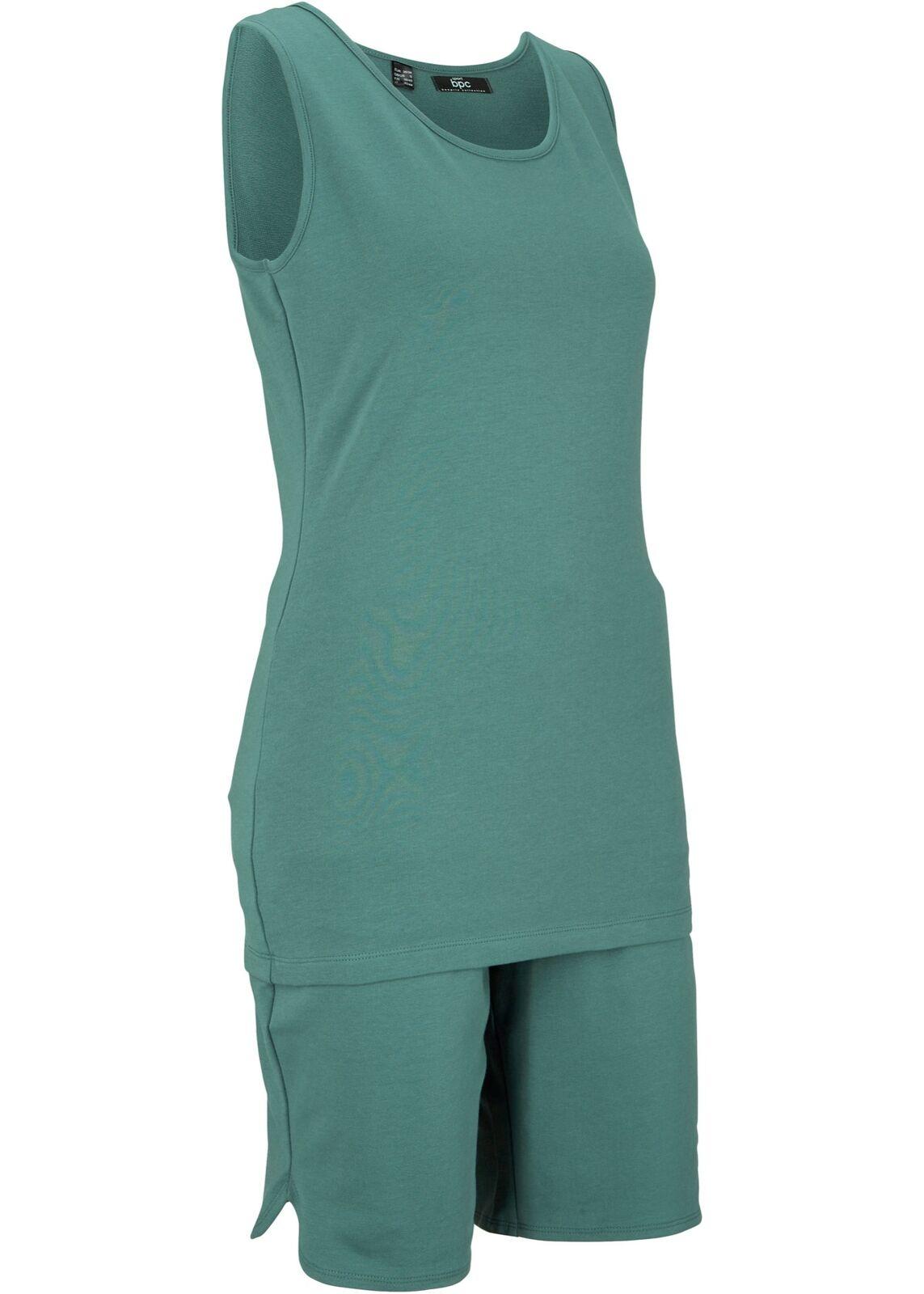 2-tlg. Bequeme Top und Shorts Gr. 36/38 Graugrün Damentop Bermuda Sport-Set Neu