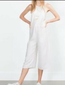 e10dab3c021 Image is loading Zara-Culottes-Jumpsuit-Small-White-Open-Back-Layered