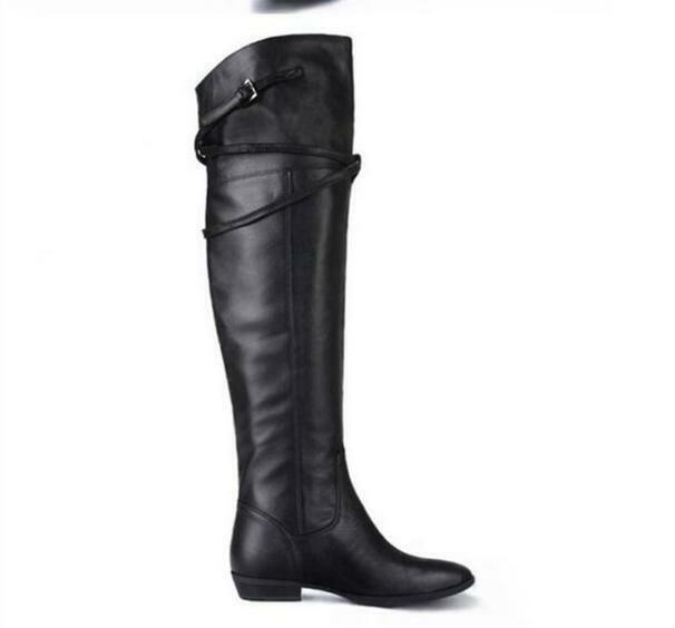 Moda Para mujeres Cuero Cremallera Real Con Cremallera Cuero Hasta La Rodilla Partido alto del muslo botas negro 207ea9