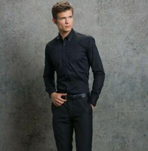 Kustom-Kit-KK113-Para-hombres-Calce-Ajustado-Camisa-Mangas-Largas-Oficina-Informal-Trabajo-Negro