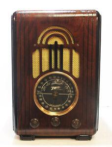 Old-Antique-Wood-Zenith-Vintage-Tube-Radio-Restored-amp-Working-w-Black-Dial