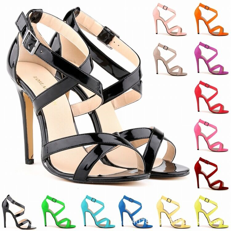 New Womens Ladies High Mid Heel Strappy Credver Wedding Sandals shoes Size 2 9