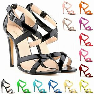 new womens high mid heel strappy crossover pumps wedding