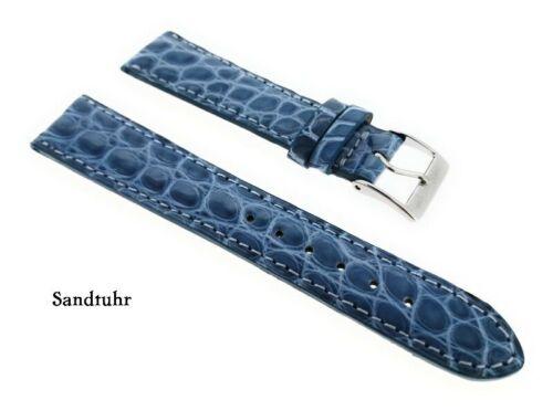 echt Kroko Uhrenarmband 18mm Jeans blau Deutscher Hersteller