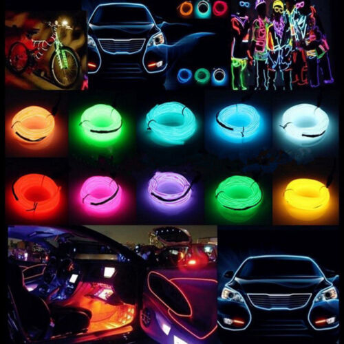 New Neon Light Glow EL Wire String Strip Rope Car Party Dance Bike Clothes Shoe