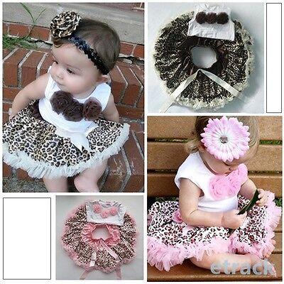 Baby Girl Kids 2 Pcs Outfits Flowers Top+Skirt Set Leopard Tutu Dress 1-4 Years