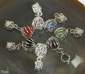 Silver-Plated-Dangle-Ball-Sphere-Crystal-Charm-Pendant-Reiki-Blessed-all-colours