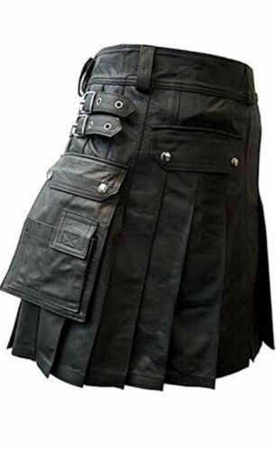 Genuine Leather Pleated KILT Gladiator style with Twin Cargo Pockets Flat Front