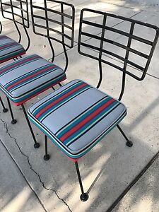 details about vintage patio chairs iron woodard salterini vkg 50 s 60 s era restored set of 8 rh ebay com Salterini Patio Furniture Vintage Cast Iron Patio Furniture