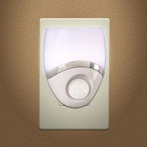 Night Light LED Plug In, Motion Sensor, White & Nickel