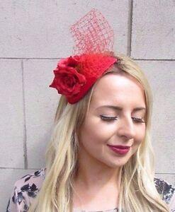 Rote Rose Blume Kopfschmuck Netz Haar Stirnband Hochzeit Rennen