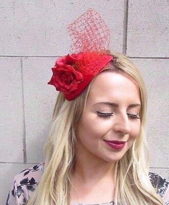 Red Velvet Orchid Flower Fascinator Hat Headband Races Wedding Vintage Hair 3271