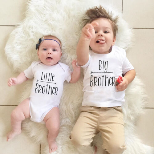 Cute Little Big Brother Matching Clothes Kids Baby Boys Romper Bodysuit T-shirt