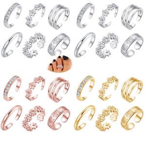 6-Stk-Set-Zehenring-Zehenringe-Offnen-Ring-Fussring-Silber-Fussschmuck-Modeschmuck