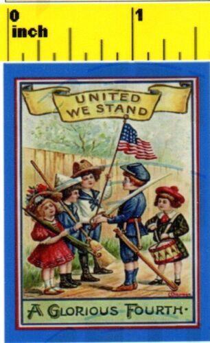 CDHM 1:12 DOLLSHOUSE Miniature Vintage USA 4th July Patriotic Poster Print