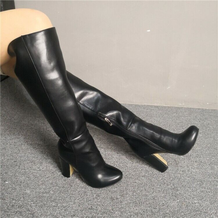 Sexy Womens Block High Heels Side Zip Knee High Boots Round Toe Black Club Shoes