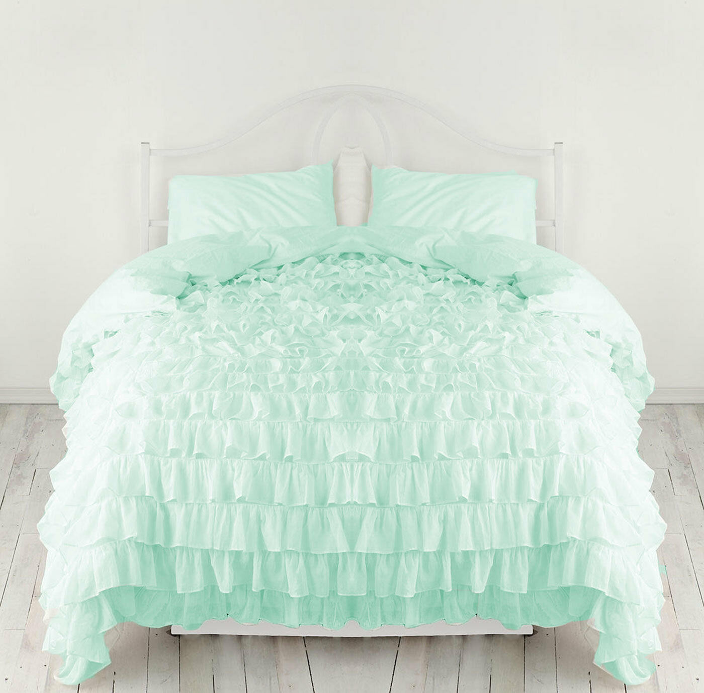 3 PC Waterfall ruffle  Duvet Cover 800 TC Egyptian Cotton All Size & color