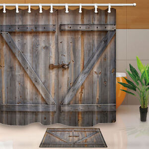 Image Is Loading Rustic Wooden Barn Door Shower Curtain Bedroom Decor