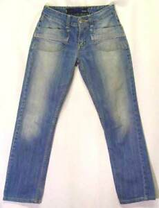Faded-VINTAGE-Dirt-Wash-LOW-Rise-Loose-Straight-Leg-PATAN-Jeans-29-7-8-Short