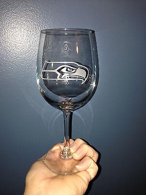 Seattle Seahawks Custom Etched Wine Glass