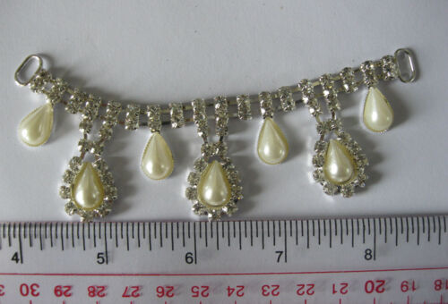 Glass Stone Rhinestone Buckles with Plastic Pearl Sew On Buckles Notions 1pc