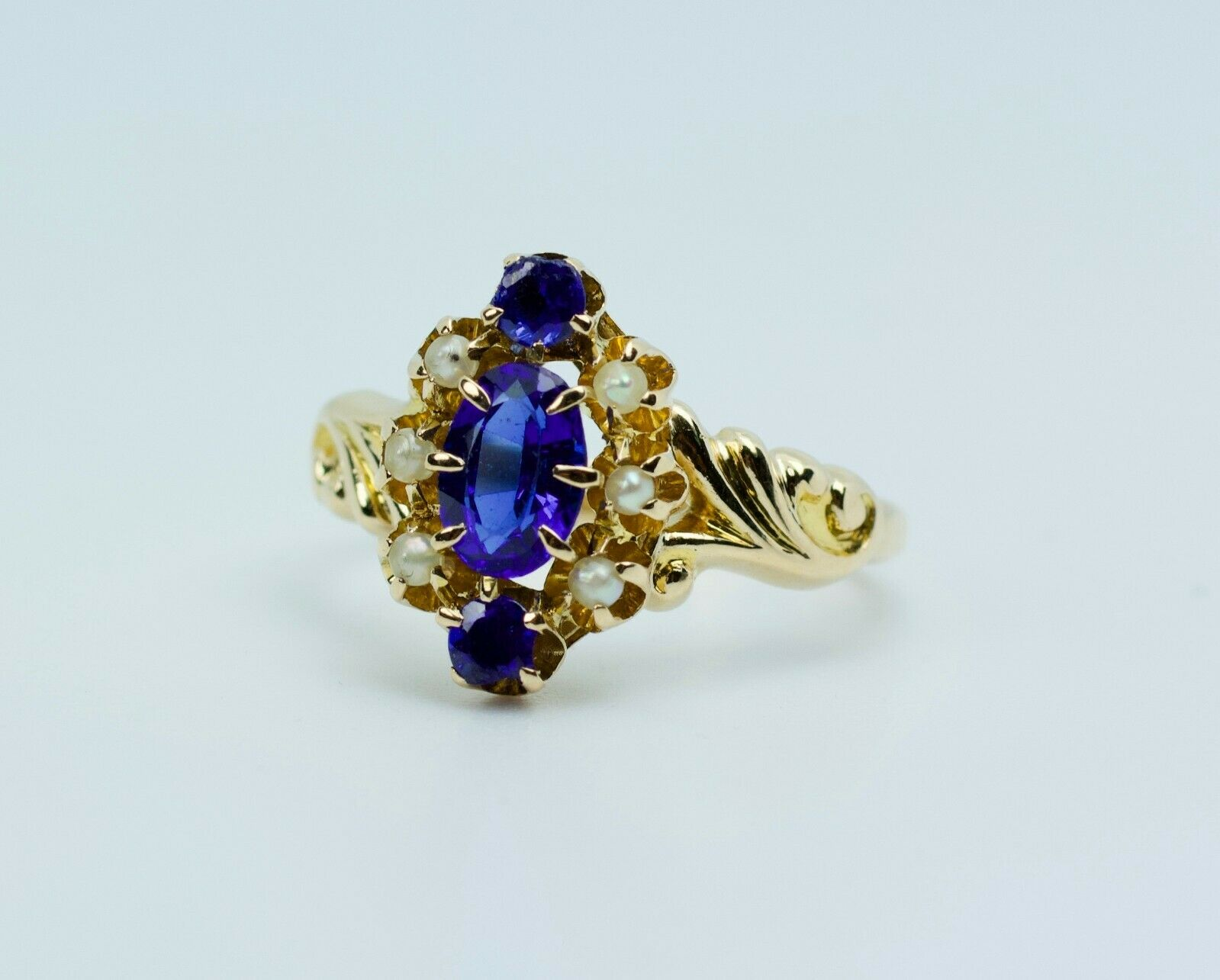 Vintage 14k Yellow Gold Oval Blue Synthetic Sapph… - image 3