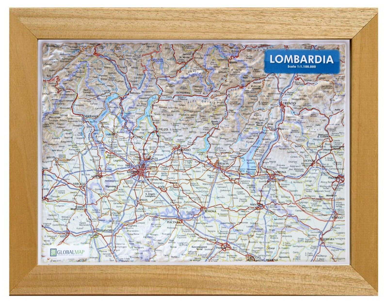 Cartina Satellitare Lombardia.Lombardia Carta In Rilievo 21x30 Cm Con Cornice Cartina Mappa Global Ebay