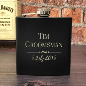 Image Is Loading Personalised Groomsman Black 6oz Hip Flask Gifts Ideas