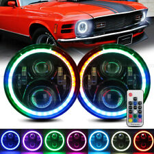 7 Headlight Rgb Led Halo Lights Hilo Remote Control For Ford Mustang 1965 1978 Fits Mustang
