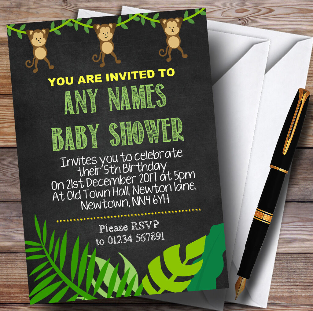 Chalk Chalk Chalk Style Swinging Monkey Jungle Invitations Baby Shower Invitations 98814b